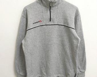 RARE!!! Le Coq Sportif Small Logo Embroidery Half Zipper Grey Colour Sweatshirts Hip Hop Swag L Size