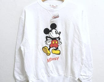 RARE!!! Mickey Mouse Disneyland Big Logo Crew Neck White Colour Sweatshirts Hip Hop Swag M Size