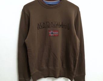 RARE!!! NAPAPIJRI Outdoor Big Logo SpellOut Crew Neck Brown Colour Sweatshirts Hip Hop Swag M Size