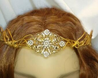 Headpiece - Gold Crown- Elven- Wedding- Fantasy -Fairy- Tiara Renaissance