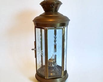 Nautical Ship Lantern with Etched Glass