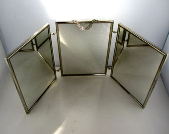 French Large Tri fold Mirror/  Miroir de barbier, triptych mirror with black cardboard back - Années 50/60