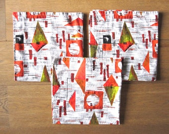 French vintage fifties fabric- France/ Années 50 / abstract / mobile / geometric / orange / colors / cushion / tea towel