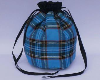 Turquoise Blue Tartan Dolly Bag Purse Evening Handbag With Black Satin Ribbon