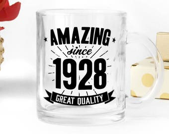 Birthday clear glass mug, great present for 90th birthday