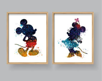 Charmant Mickey Mouse Minnie Mouse Wall Art, Printable Watercolor Mickey Minnie Art  Home Decor Wall Decor