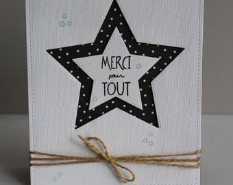 Thank you card, handmade card, thank you card, thank you for everything card friendship card star