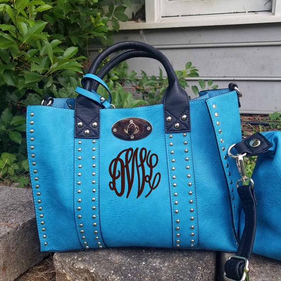 Monogrammed Purse and cosmetic Grommet 2 pc bag set in Turquoise - Personalized handbags