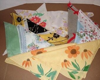 5)  Nine Vintage Hankies.   Floral Hankies.  Ladies Hankies.  Bleuette Doll.