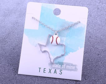 Customizable! State of Mine: Texas Baseball Enamel Necklace - Great Baseball Gift!