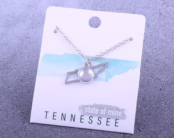 Customizable! State of Mine: Tennessee Tennis Silver Necklace - Great Tennis Gift!
