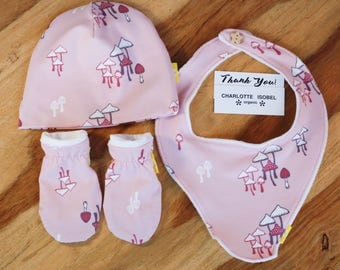 It's a Girl Gift Set in Pink Magical Mushroom Print Baby Gift Set Organic Cotton