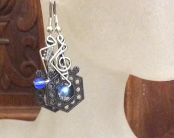 Blues Notes / Earrings / Music Earrings / Jazz earrings / handmade earrings / boho earrings