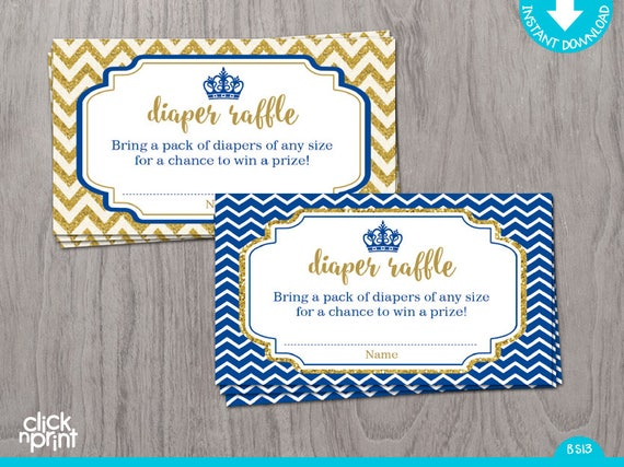 diaper raffle ticket royal blue and gold glitter print yourself baby