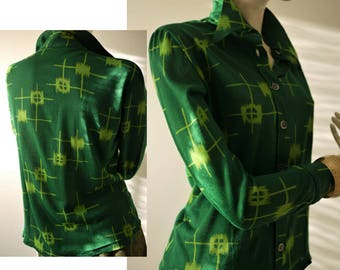 Vintage 70s blouse/green shirt/abstract print/Jersey shirt/Soft elastic fabric/pointed collar/size S/M