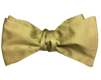 Men's Bow Tie, Bow Tie for Men, Luxury 100% Pure Gold Silk Bow Tie, Gold Bow Tie, Self-Tie Bow Tie