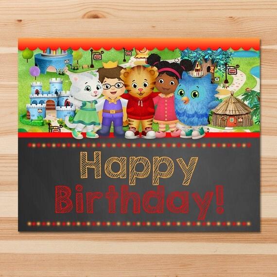Daniel Tiger Happy Birthday Sign- Red Chalkboard - Boy Daniel Tiger Sign - Daniel Tiger Birthday Party - Daniel Tiger Party Printables