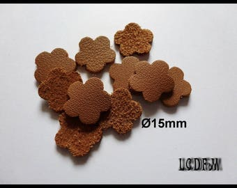 * ¤ 10 flowers #2 - diameter 15 mm Camel colored leather ¤ * #C13