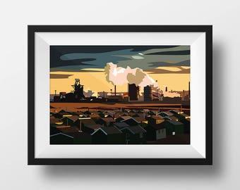 Industrial Teesside, Digital Art Landscape Illustration Print, FREE UK Delivery