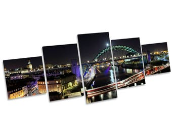 Newcastle Tyne Bridge Quayside Multi CANVAS WALL ART Picture Box Frame Five Panel
