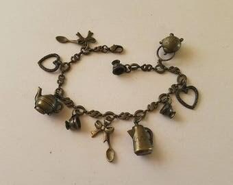 Tea Party charm bracelet pot metal