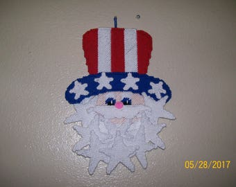 Plastic Canvas Uncle Sam wall hanging