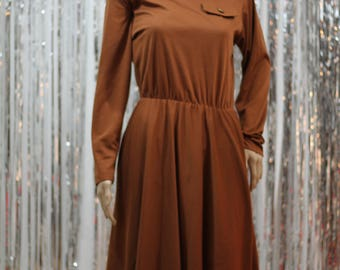 Stunning 80's Brown Turtle Neck Dress by  Impromptu Dress (S)