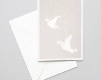Greeting card - origami birds