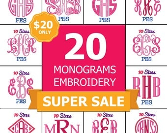 SUPER SALE!! 20 Monogram Embroidery FontS Machine Embroidery Fonts PES Format Pack Set 10 Sizes Vine Monogram Font Interlocking Monogram