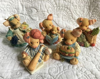Vintage Lot This Little Piggy Figurines Set of 5 - Enesco 94 - 95 - Mary Rhyner - Baseball Food Groceries Waitress Family Reading