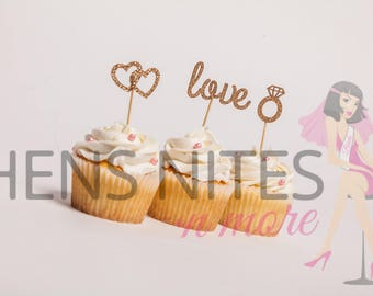 Hens Night Bachelorette Cupcake Toppers Love, Hearts and Ring Gold