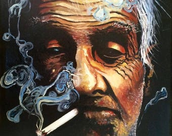 The Turkish Smoker Limited Edition A3 Print Of Original Oil Painting Realism