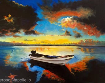 Sea Sunset With Boat Limited Edition A3 Print Of Original Oil Painting . From Original Painting by Generoso Napoliello