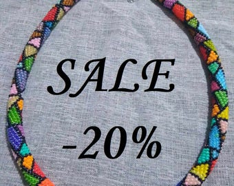 SALE!!SALE!!!Multicolor crochet necklace Many-colored and funny necklace Summer mood for everyone Crochet Bead Rope Necklace