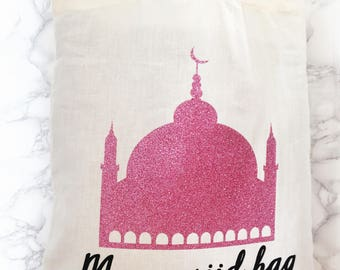 My mosque bag, my masjid bag, storage bag, salah, prayers, dua, storage, totebag,glitter, eid gifts