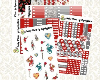 Fire Dragons Planner Stickers Weekly Kit