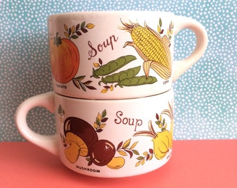 Veggie Soup Mugs Set of 2 | Vintage Vegetable Soup Bowls | Retro Veggie Kitchen Mug Set
