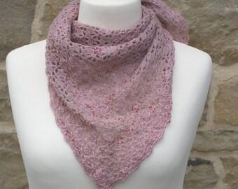 Handmade pink bandana scarf with red beads
