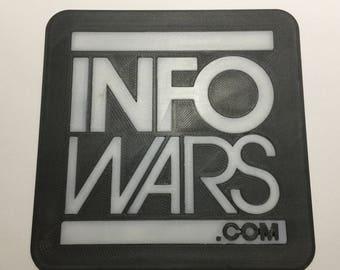 3D Printed Infowars.com Logo Coaster / Plaque
