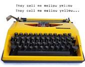 Retro Yellow Manual Vintage Typewriter. Working Adler Tippa Typewriter, A Classic Mid Century Modern Typewriter from the 1970s