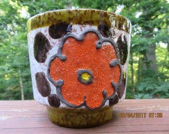 Vintage Majolica Flowerpot Germany with Bright Orange Flower
