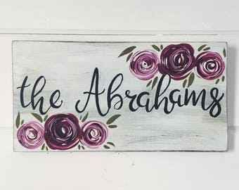 Custom Hand Painted Welcome Sign with Last Name // Wedding Gift // Bridal Shower Gift // Personalized Last Name // Hand Painted Welcome Sign