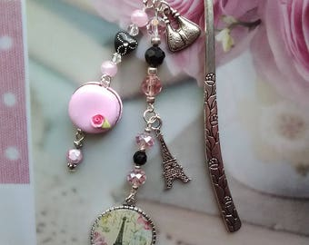 Bookmark cabochon romantic Paris and pink macaroon / gift idea