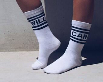 Can. Will. Old School Crew Socks