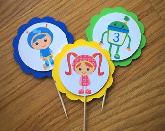 Team Umizoomi Cupcake Toppers  - Umizoomi Party - Happy Birthday
