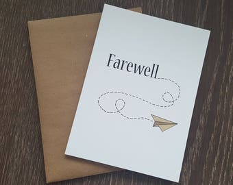 Goodbye Card, Farewell Card, Leaving Card, Greeting Card, Coworker Goodbye, Bon Voyage Card, Goodbye, Farewell, Travel Card, Moving Card