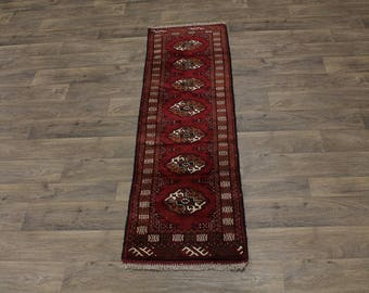 Top Quality Runner Hand Knotted Turkoman Persian Rug Oriental Area Carpet 2X6ʹ5