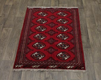 Authentic Handmade Small Turkoman Ghoochan Persian Area Rug Oriental Carpet 3X5