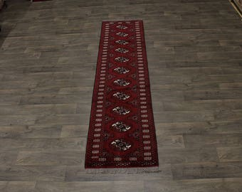 Charming Runner Wool Tribal Turkoman Persian Area Rug Oriental Carpet 2ʹ4X9ʹ5