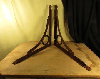 Shabby Large Vintage Shelf Brackets Original PAIR Heavy Steel Rusty Industrial Look Riveted 1905 era